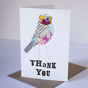 Personalised 'Thank You' Birdie Card - thank you cards