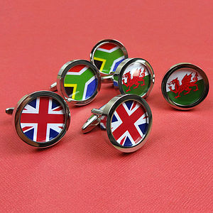 Personalised Country Flag Cufflinks - cufflinks