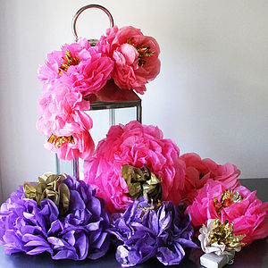 Hand Cut Tissue Fiesta Paper Flowers - baby & child
