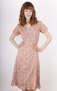 Rose Printed Wraparound Tea Dress - dresses