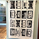 Retro Music Cassette Tea Towel - Black & White