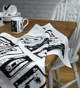 Retro Style Cassette Tea Towel - kitchen linen