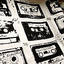 Retro Cassette Tea Towel - Black and White