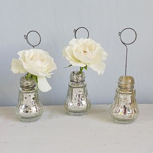 Set Of Four Glass Vase Placecard Holders - living & decorating