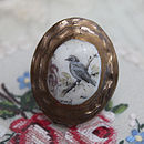 Porcelain Contoured Blue Bird Cameo Ring