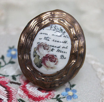 Porcelain Contoured Handwriting Cameo Ring