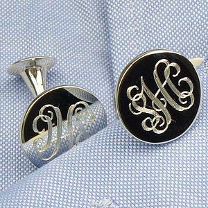 Monogram Silver Cufflinks - weddings sale