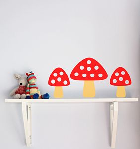 Set Of Five Toadstool Wall Stickers - decorative accessories