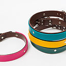 Dark pink, turquoise, yellow and green two-tone leather dog collars with brown main leather