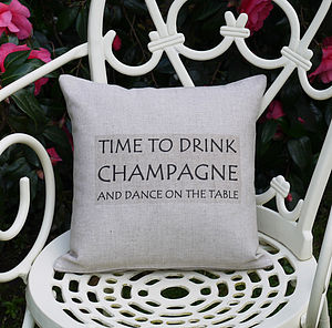 'Drink Champagne' Cushion - cushions