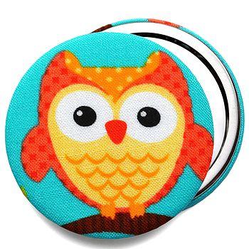 Orange Owl Compact Mirror