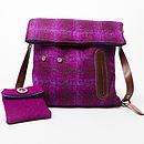 Harris Tweed Dog Walker's Bag in purple check showing detached treat bag