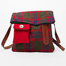 Harris Tweed messenger bag for Dog Walker's in red, blue and green check