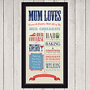 Personalised 'Mum Loves' Circus Poster Print