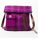 Dog Walker's Bag in purple tartan Harris Tweed