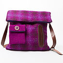 Harris Tweed Dog Walker's Bag in purple plaid