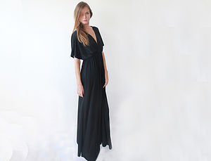 Maxi Dress With Bat Sleeve - women's fashion