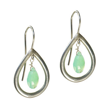 Marisa Earrings Silver And Chrysoprase