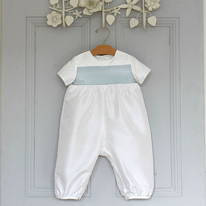Boys Echo Christening Romper Suit - babygrows
