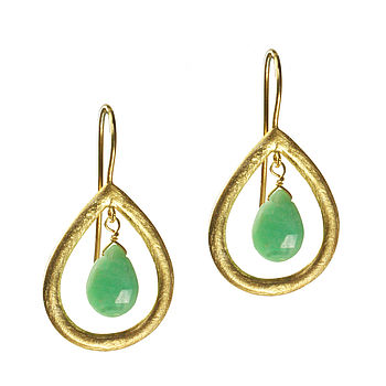 Marisa Earrings Gold And Chrysoprase