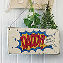 Personalised Comic Book Daddy Sign