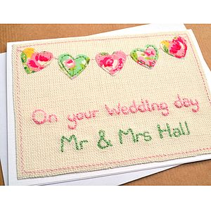 Personalised Floral Bunting Wedding Card - cards