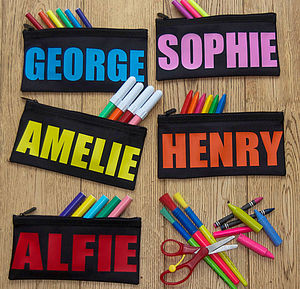 Personalised Bright And Bold Name Pencil Case - baby & child