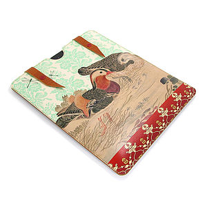 Printed Leather Mandarin Duck Case For IPad - laptop bags & cases