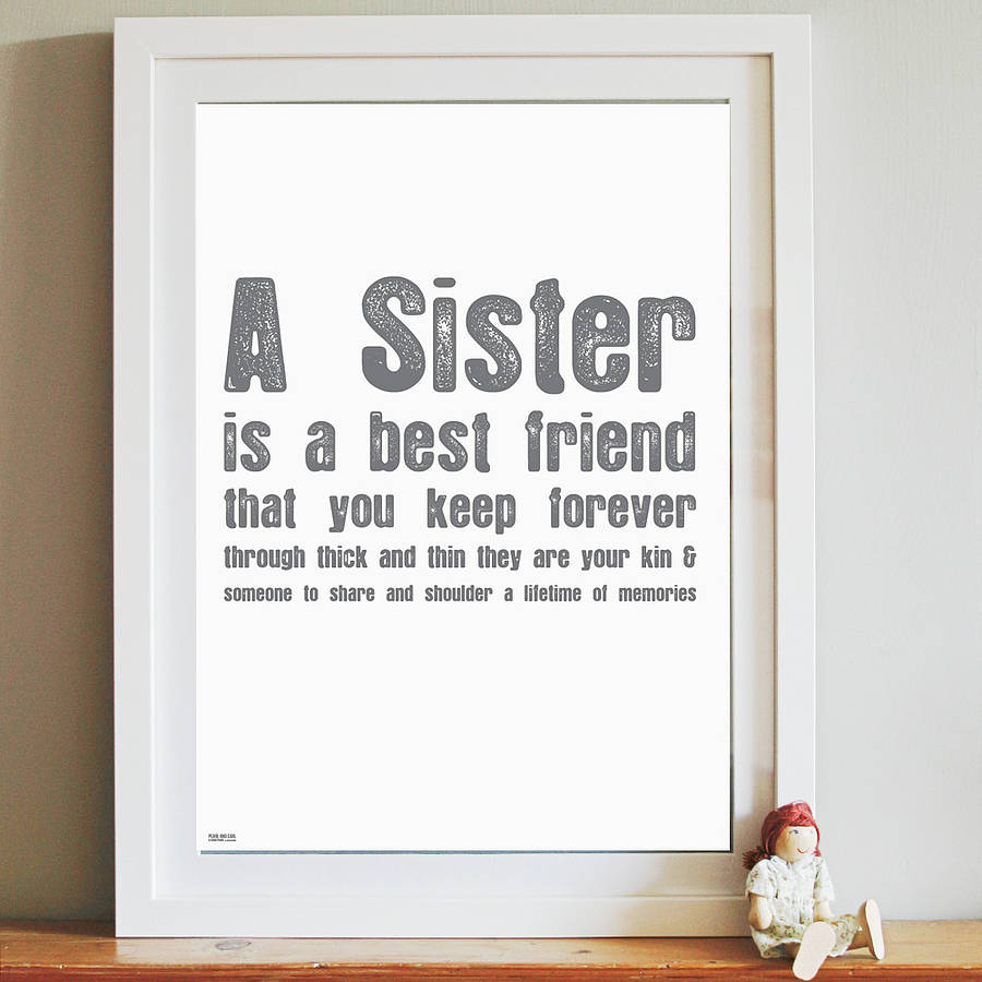 sister\' word pressed art print by pearl and earl ...