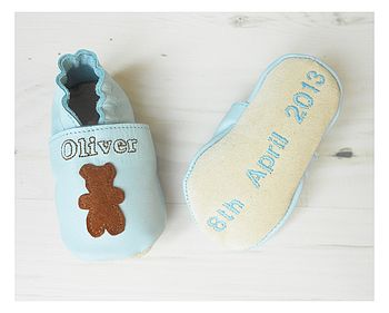 Personalised Baby Boy Bear Shoes