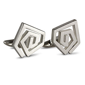 Straight Line Swirl Cufflinks - for him
