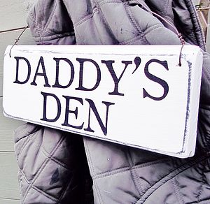 Wooden Den Sign Personalised Wire Strung