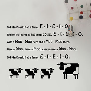 'Old MacDonald Had Some Cows' Wall Sticker - children's room