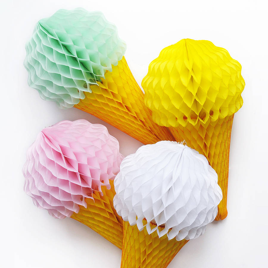 Ice cream cone tissue paper decoration by peach blossom for Decoration paper