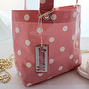 Pink Spot bag with nappies