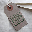 Removeable 'Hand Printed' Tag