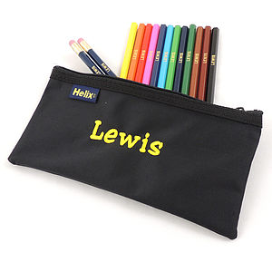 Personalised Pencilcase And Pencils Set - stocking fillers