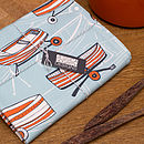 Boat Nostalgia tea towel in blue, packaged