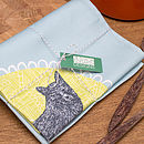 Mr Fox tea towel, packaged