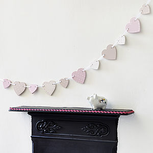Pink Wooden Heart Bunting - outdoor decorations