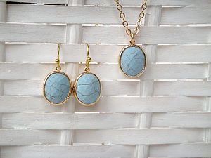 Gold Turquoise Bezel Set - jewellery sets