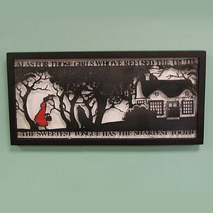 Red Riding Hood's Folly Papercut - mixed media & collage