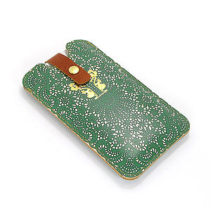 Printed Emerald Lace Leather Phone Case - bags & purses
