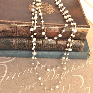 Long Freshwater Pearl Woven Necklace