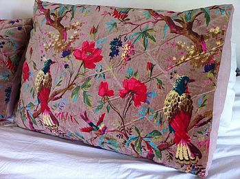 Large Bird Of Paradise Velveteen Cushion