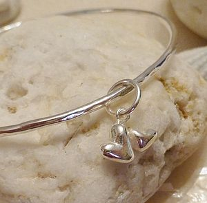 Double Heart Silver Charm Bangle - bracelets & bangles