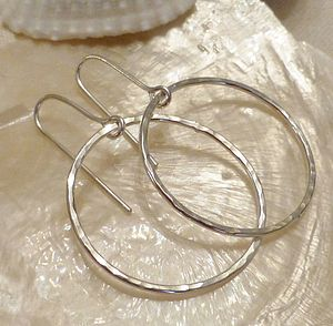 Delicate Hammered Silver Hoop Earrings - earrings