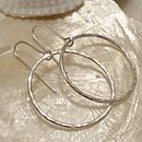 Delicate Hammered Silver Hoop Earrings