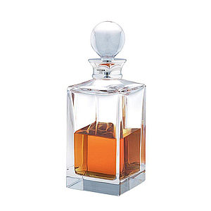 Crystal Square Decanter With Silver Neck - home & garden