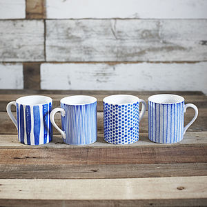 Set Of Four Hand Painted Mugs